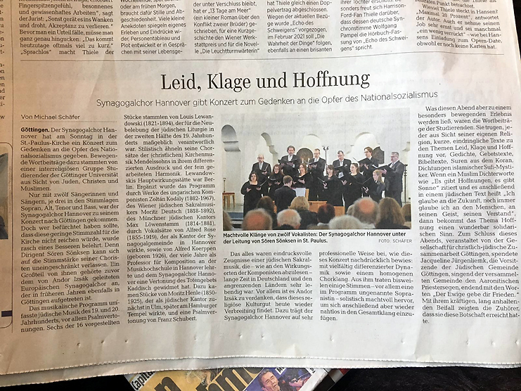 Göttinger Tageblatt vom 28.1.2020; Konzertkritik Synagogalchor Hannover